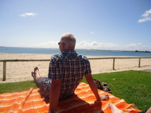 Dad chilling out on the beach in Bunbury