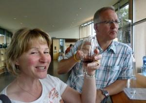 Mum tasting wines