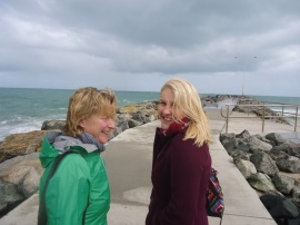 Mum and I on a windy Cottesloe pier