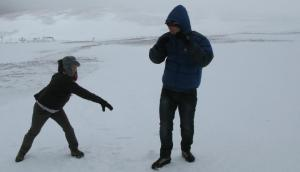 Snowball fight before the white out