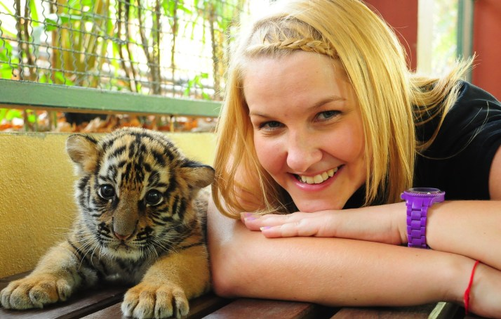 Playing with a baby tiger...as you do!