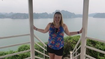 High up on the pagoda in Cat Ba