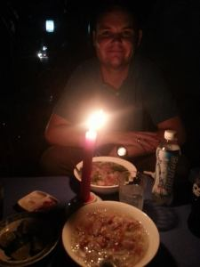 Pho by candle light during a blackout 2 meals=$2!