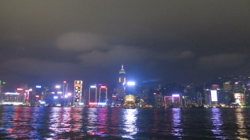 Hong Kongs famous skyline at night