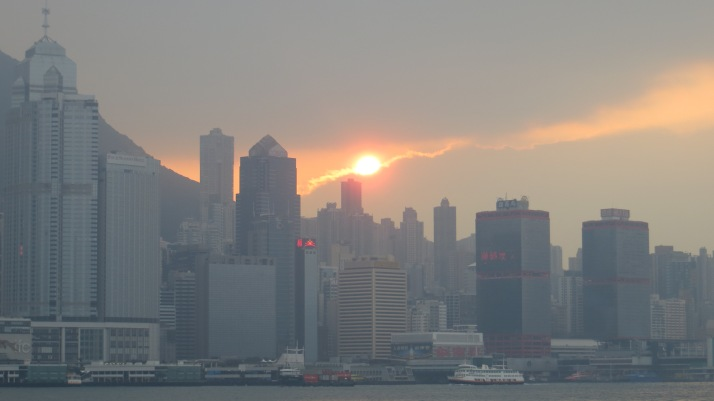 Sunset behind Hong Kong Island