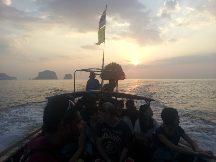 Sunset boat home